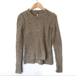 Free People Crew Neck Cable Knit Sweater Size XS